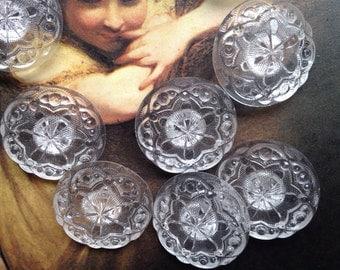6 old transparent / glass buttons - poinsettia - snowflake - Artdeko