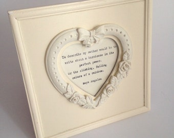 SALE**Beautiful, cream ornate heart frame 4x4, vintage, distressed with hand-typed lyrics OR quote of your choice. Birthday anniversa