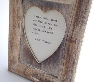 Great Gift Lime Washed heart, vintage, distressed wood frame with hand-typed lyrics OR quote of your choice Birthday Anniversary Wedding