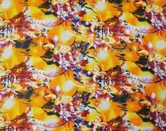 "Multicolor Pure Cotton Fabric With Floral Pattern Printed 44"" Wide Sewing Dress Making Crafting Material Indian Fabric 1 Yard ZBC4966"