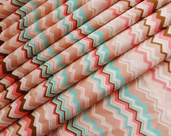 "Indian Decorative Satin Polyesters Fabric Zig Zag Print Pattern 45"" Wide Dress Making Sewing Crafting Pillow Fabric Material By 1 Yd ZBC874"