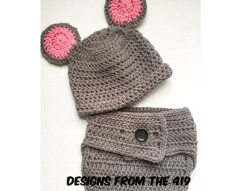 Crocheted Mouse Hat and Diaper Cover