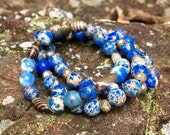 Beautiful Handmade Blue Ocean Jasper Bracelet Set