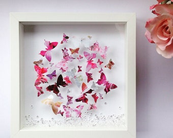 Handmade Personalised 3D Butterfly Swarm Frame with floating crystals - Wall Art