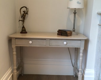 Vintage console/hall table painted in Farrow and Ball Shaded White
