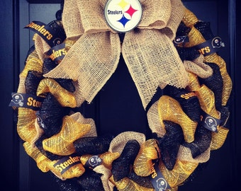 Custom Made NFL wreath: Pittsburgh Steelers