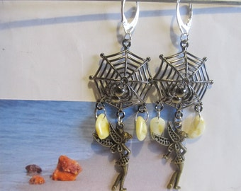 Amber Earrings Web Spider Natural Baltic beads yellow opaque Black Web, Silver color french clasp souvenir gift present Elfa bronze figure