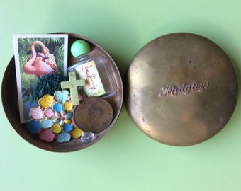 Vintage tin and contents , antique tin , vintage brass tin, brass tin , vintage brooch , old key , vintage coins , vintage buttons