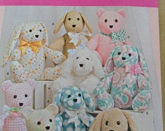 Simplicity 8044 teddy/dog/rabbit stuffed animal sewing pattern