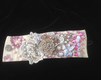 OOAK hand beaded fabric cuff