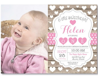 Valentine Birthday Invitation with Photo. Our Little Sweetheart Birthday Invitation. Rustic Wood. Girl Boy 1st First Bday. Printable Digital