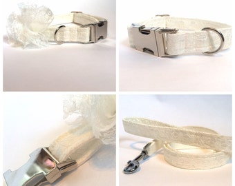 Dog Collar Wedding - Ivory lace with detatchable lace flower (matching lead also available seperately) with silver metal fittings.