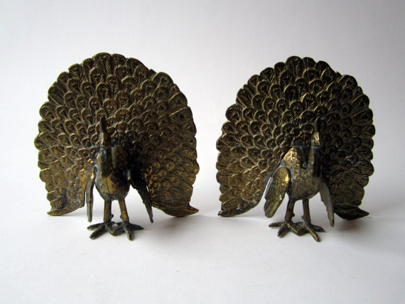Brass Peacock Bookends Figurines Statement Piece Mid Century
