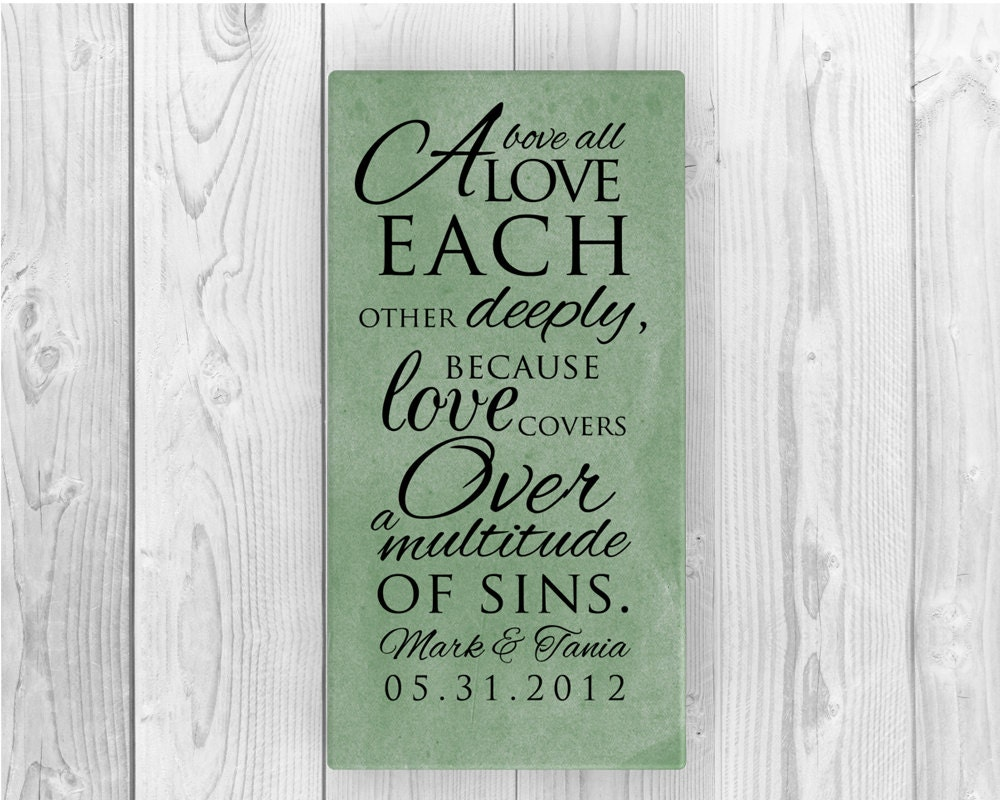 Personalised Wedding Gift Canvas : Personalized wedding gift 1 Peter 4:7 Canvas for Couples