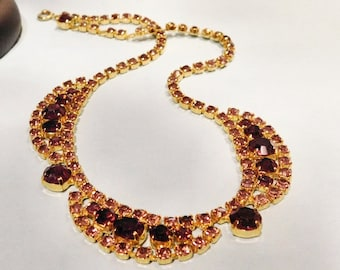 Vintage Rhinestone Necklace Mid Century Hollywood Glam Purple Amethyst Glass Rhinestone Swag Choker Art Deco Revival Articulated Necklace