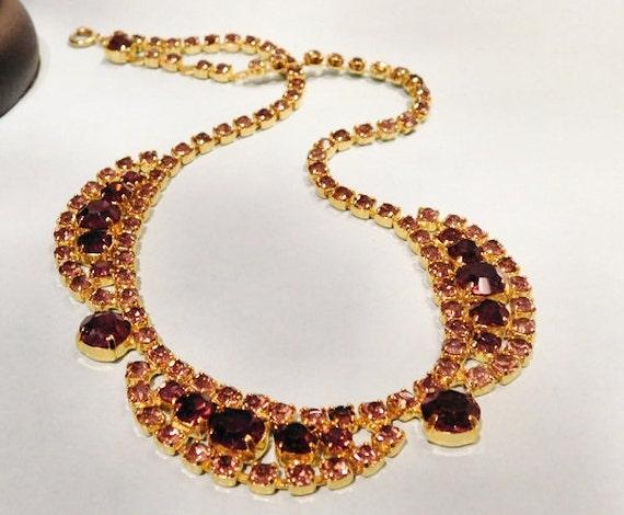 Vintage Rhinestone Necklace /  Mid Century / Choker