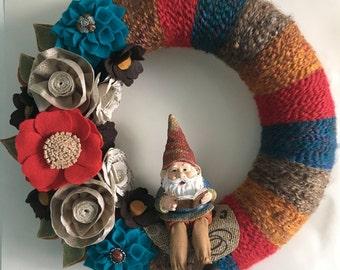 Storybook gnome yarn wreath