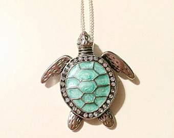Turquoise Sea Turtle Long Necklace