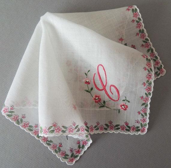 Shop Floral Monograms At Littlebrownnest Etsy Com: Vintage C Monogram Floral Hankie / Floral Hanky / Floral
