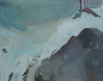 Original Scandinavian minimalist landscape abstract oil painting