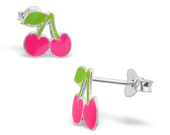 Children's Silver Cherry Ear Studs