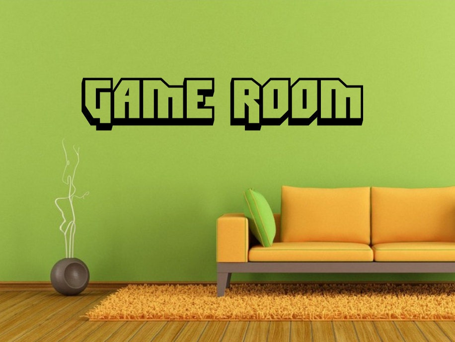 game room wall decal choose size color game room vinyl wall decal home decor man cave gamer. Black Bedroom Furniture Sets. Home Design Ideas