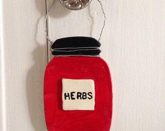"Mason Jar Ceramic Plaque - ""Herbs"""