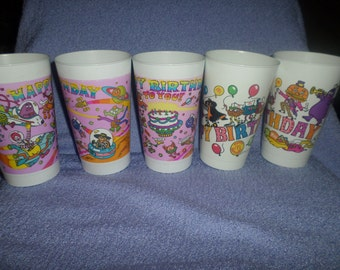 Vintage McDonalds Cup lot Cups Happy Birthday 1983 1985 total of 5 cups Mc Donald's Grimace Hamburglar Fri kids Mayor Mccheese