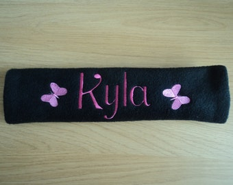 Seat Belt Cover  / Pad : Personalised Embroidered *ANY NAME* football, soccer, heart, stars, butterfly car cushion