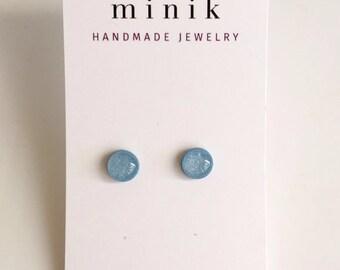 Baby blue stud earrings, everyday earrings, bridesmaids gifts, handmade earrings