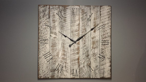 30 Rustic Wall Clock Made From Rough Cut Lumber And