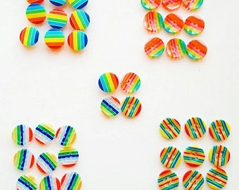 Value mixed rainbow buttons pack. 40 buttons. Craft,  scrapbooking, rainbow theme. Selection of rainbow buttons