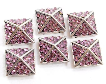 Two Hole Silver Pyramid Sliders with Purple Crystals. (3) Silver Square Sliders for Making Jewelry. Two Hole Sliders w/ Purple Crystals 18mm