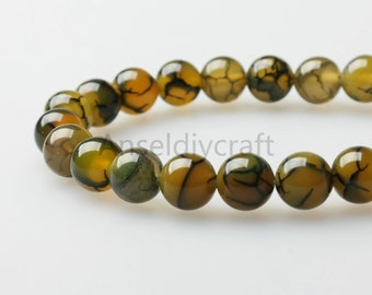 B194 Natural Yellow Dragon Vein Agate Beads, Smooth Round 4 6 8 10 12 14mm Agate Gemstone Beads Bulk Supplies