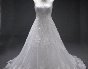 Lace and crystal Bridal wedding Gown