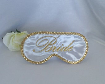 Bride sleep mask blind fold with gold lettering and trim -  for wedding or honeymoon - bride sleep mask