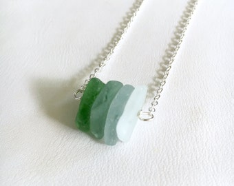 Green, Blue, White, Sea Glass Bar Pendant, Sterling Silver