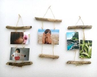 Driftwood Photo Card Organizer Display Wall Hanging - Driftwood Decor - Beach Decor