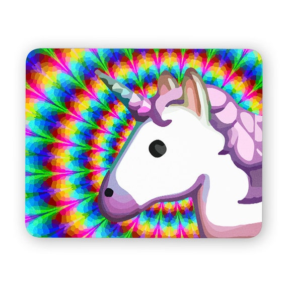 Unicorn emoji trippy rainbow mouse pad - mouse mat 3P013