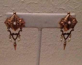 Antique VICTORIAN 12K Gold-Filled Screw Back Earrings...Beautiful!