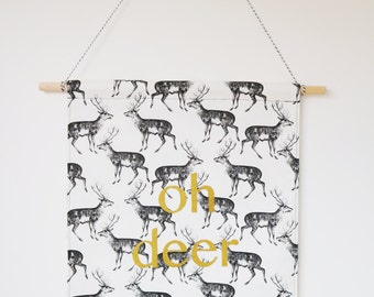 oh deer fabric wall banner