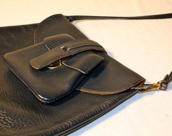 Vintage 1950's navy black leather purse everyday handbag