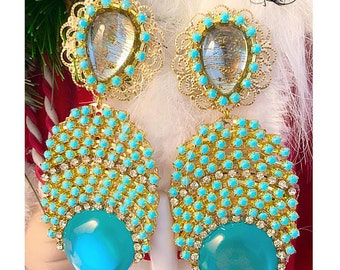Long glass beads turquoise cilp on statement earrings