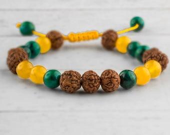 Adjustable Wrist Mala Bracelet, Rudraksha Bracelet, Wood Bead Bracelet, Yoga Bracelet, Chakra Bracelet