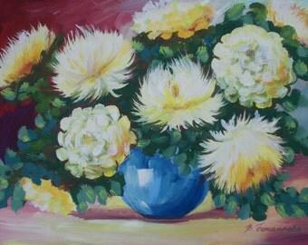 Original gouache painting, chrysanthemums