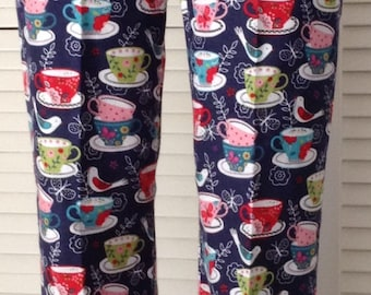 Teacups on navy blue background flannel pajama pant