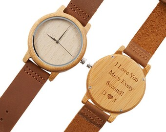 Men's Watch, Engraved Wooden Watch, Husband Gift, Groomsmen Gift, Bamboo Leather Watch