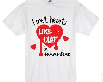 Melt Hearts like Olaf Tee Shirt Design, SVG, DXF, EPS Vector files for use with Cricut or Silhouette Vinyl Cutting Machines