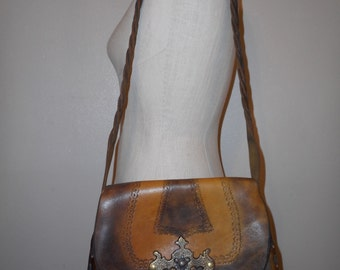 vintage 60s bohemian hand tooled leather crossbody handbag