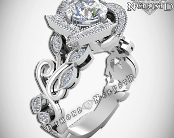 Princess Belle Inspired Rose Flower Swarovski Sterling Silver Or White Gold Engagement Ring